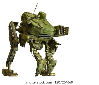 camouflage mech in a white background will put some fun in yours creations, 3d illustration