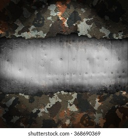 Camouflage military background with scratches and stains