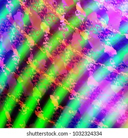 Camouflage pink pattern over green and blue concentric stripes