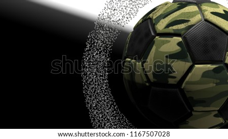 Camouflage soccer ball with water splash. 3D illustration. 3D high quality  rendering. 6bf04ce810c1