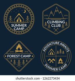 Camp logo set. Summer and forest camping badges. Mountain and Rock Climbing emblem.