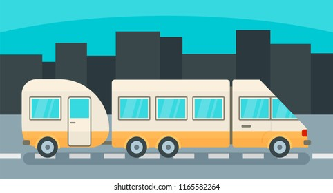 Camp truck with trail background. Flat illustration of camp truck with trail background for web design