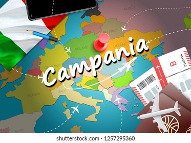 Campania city travel and tourism destination concept. Italy flag and Campania city on map. Italy travel concept map background. Tickets Planes and flights to Campania holidays Italian vacation
