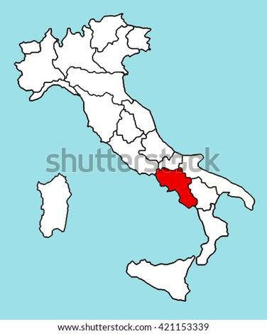 Campania Italy Map Stock Illustration - Royalty Free Stock ...
