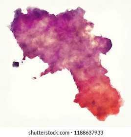 Campania region watercolor map of Italy in front of a white background