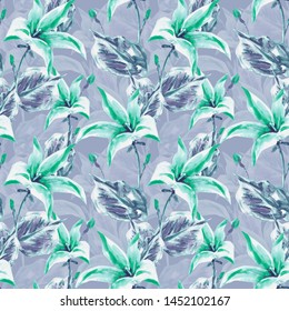 Campanula Seamless Pattern. Watercolor Hand Painted Background.