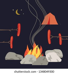 Campfire icon. Minimal flat design. Grilled smoked sausages on base camp fire rocks ring cartoon. Adventure outdoor night campsite sign. Camping advertising banner, flyer background illustration