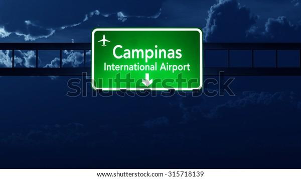 Campinas Brazil Airport Highway Road Sign 3D Illustration at Night