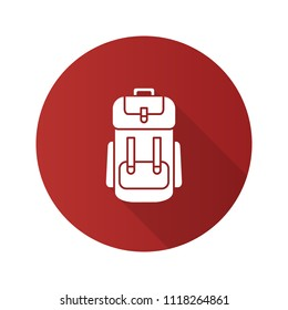 Camping backpack flat design long shadow glyph icon. Rucksack, knapsack. Raster silhouette illustration