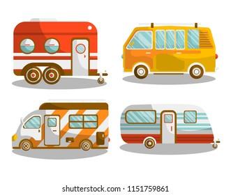 Camping bus or camper van  illustration