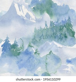 camping digital paper travel seamless pattern landscape mountain watercolor black people clipart blue foggy forest adventure theme