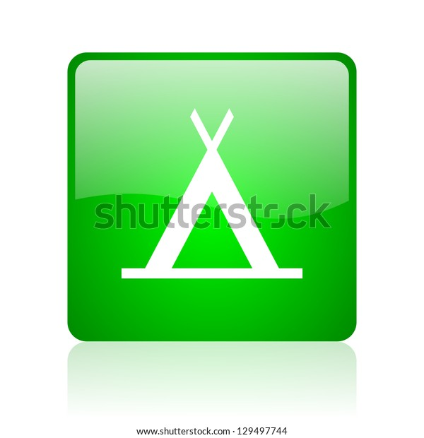 camping green square web icon on white background