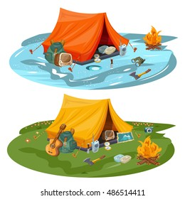 Camping hiking and outdoor recreation cartoon