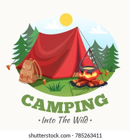 Camping illustration with summer forest cartoon style round composition with tent campfire backpack images and text  illustration