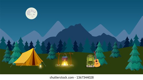 Camping and Mountain Camp. for Web Banners or Promotional Materials. illustration in flat style Raster version.