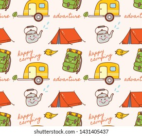 camping object themed seamless background