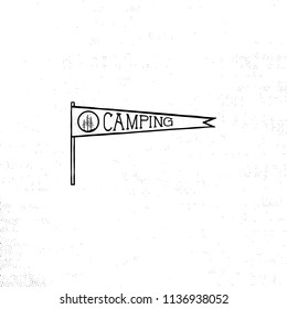 Camping Pennant Template Vintage Hand Drawn In Monochrome Design Best For T