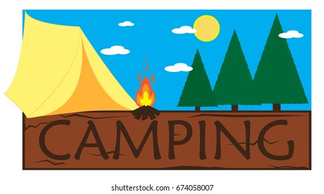 Camping scene with fire.