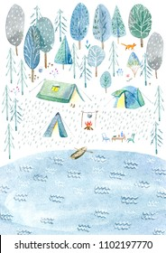Camping in the woods and lake.Tourism and fishing.Tent, trees, bonfire, plants and moon.Landscape.Watercolor hand drawn illustration.White background.