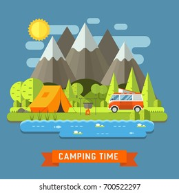 Campsite place at mountain lake. Forest camping landscape with rv traveler bus in flat design. Summer camp place with camper caravan illustration. National park area auto travel campground.