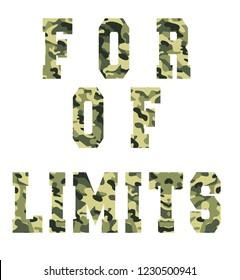 camuflage text slogan for of lımıts backraund