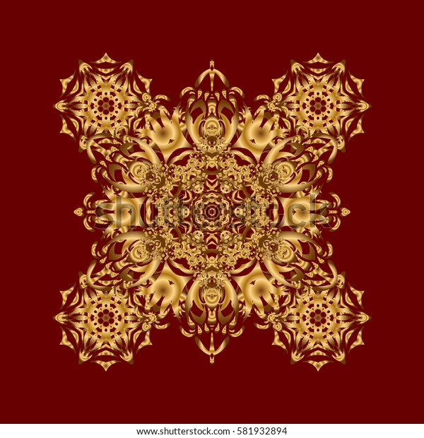 Can be used for brochures invitations, persian motif. Islamic gold mandala round ornament on red background. Architectural muslim texture design.