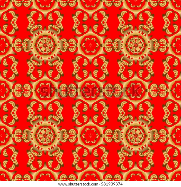 Can be used for wallpaper, banner, wrapping, wedding cards. Islamic oriental seamless pattern. Muslim, East ornament, Indian ornament, Persian motif. Abstract golden circle ornament on red background.