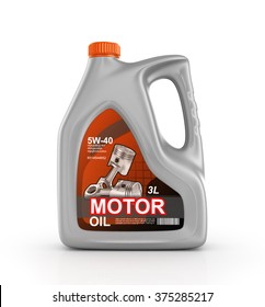 Can of motor oil on a white background.