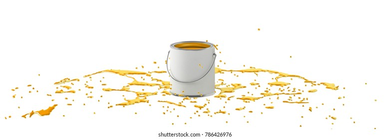 Can and paint drop on the floor. 3D illustration. Isolated on white background.