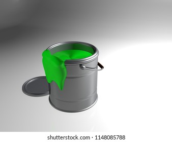 Can Paint with Green Ink 3D Render