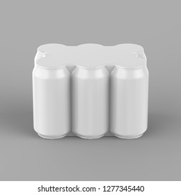 Can With Shrinkwrap Pack 6 Top Gloss. 3D rendering