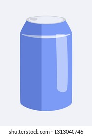 Can of soda, and beverage, canned bottle, made of aluminium, container of blue color, with liquid inside of it, raster illustration, isolated on white