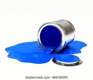 Can spilled blue paint isolated on white background. 3D illustration