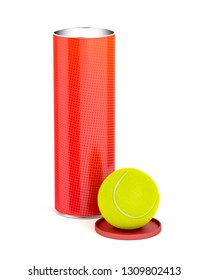 Can with tennis balls on white background, 3D illustration