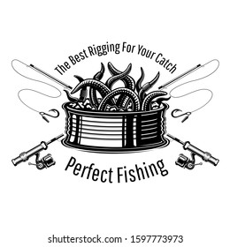 Can with worms with crossed fishing rods in engraving style. Label for fishing or fishing shop on white