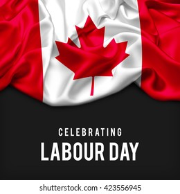 Canada Abstract waving Flag and Plain background with Typography Celebrating Labor Day 1st May