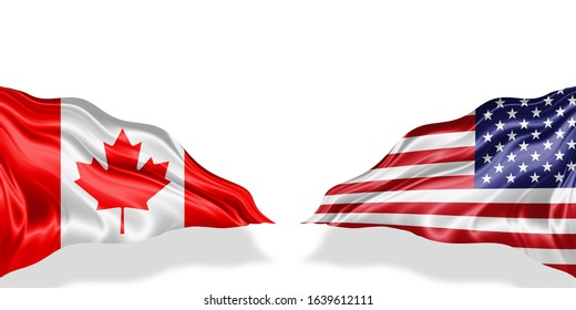 Canada and American flag of silk with copyspace for your text or images and white background