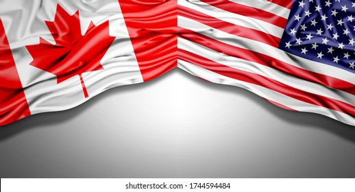 Canada and American flag of silk with copyspace for your text or images and white background -3D illustration
