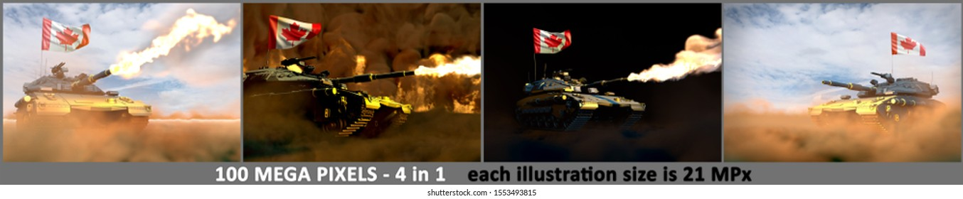 Canada army concept - 4 detailed illustrations of heavy tank with design that not exists with Canada flag, military 3D Illustration