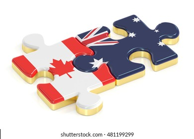 Canada and Australia puzzles from flags, 3D rendering