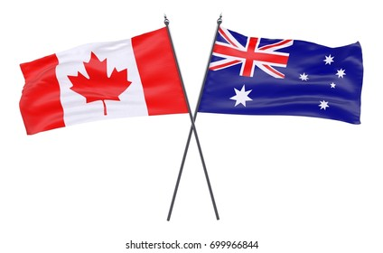 Canada and Australia, two crossed flags isolated on white background. 3d image