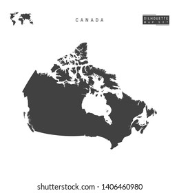 Canada Blank Map Isolated on White Background. High-Detailed Black Silhouette Map of Canada.