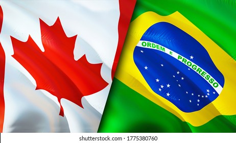 Canada and Brazil flags. 3D Waving flag design. Canada Brazil flag, picture, wallpaper. Canada vs Brazil image,3D rendering. Canada Brazil relations alliance and Trade,travel,tourism concept