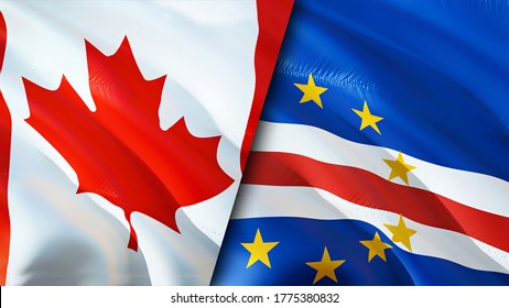 Canada and Cape Verde flags. 3D Waving flag design. Canada Cape Verde flag, picture, wallpaper. Canada vs Cape Verde image,3D rendering. Canada Cape Verde relations alliance and Trade,travel,tourism