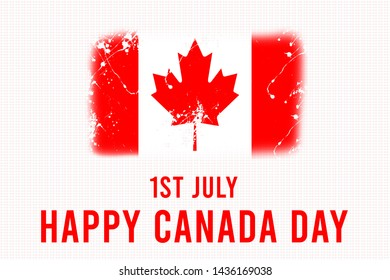 Canada Day background illustration,1st July, with Canada Flag on white background,