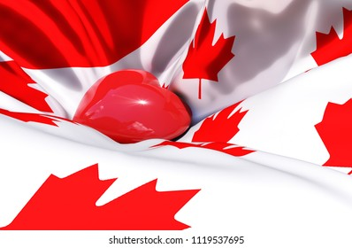 Canada day Canadian Independence day 1st july Canada silk waving flag Red heart is brighting inside Canada with a lot of maple leaves flag Celebration Fourth july 3d illustration