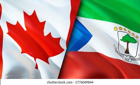 Canada and Equatorial Guinea flags. 3D Waving flag design. Canada Equatorial Guinea flag, picture, wallpaper. Canada vs Equatorial Guinea image,3D rendering. Canada Equatorial Guinea relations