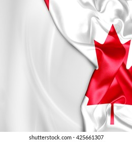 Canada flag and abstract white waving background