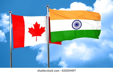 Canada flag with India flag, 3D rendering