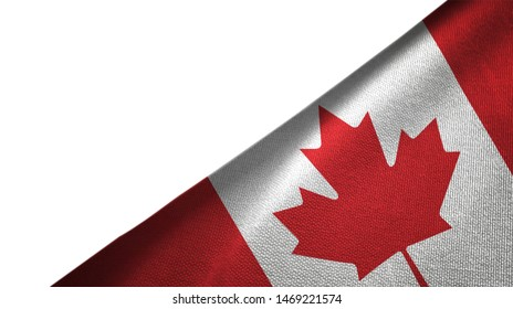 Canada flag isolated on white background placed on the right side with blank copy space